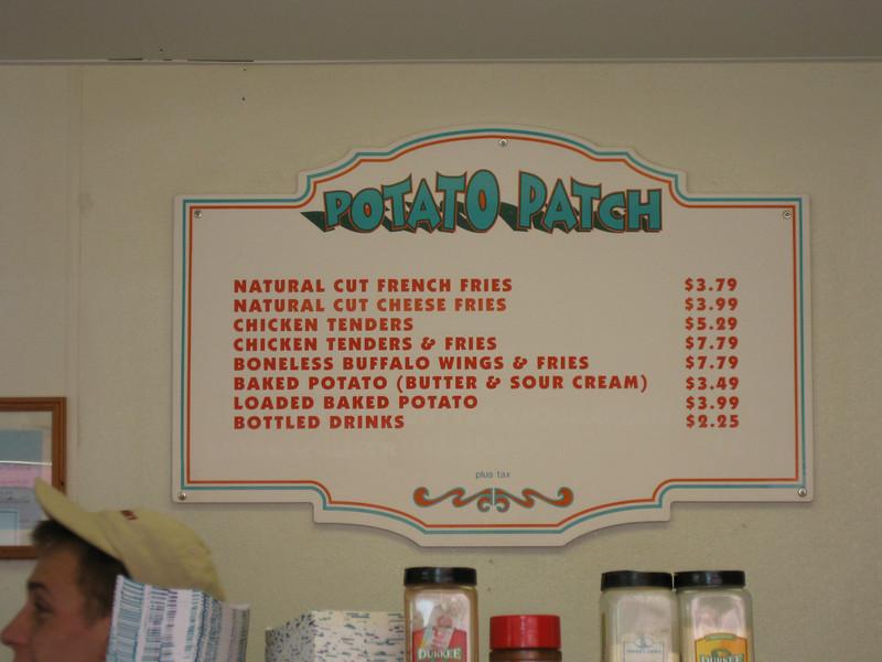 Potato Patch menu.