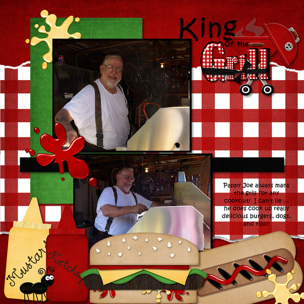 Backyard BBQ- Just So Scrappy. Bottom cluster scraplifted from a brag book freebie page created by Katie (Just So Scrappy)