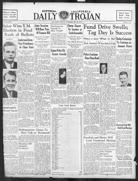 Daily Trojan, Vol. 26, No. 142, May 22, 1935