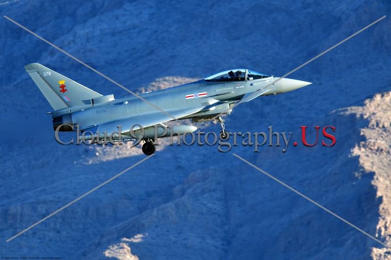 Eurofighter Typhoon-British RAF 0002 A British RAF Eurofighter Typhoon jet fighter, ZK376, landing at Nellis AFB during a Red Flag exercise in 2020, military airplane picture by Peter J. Mancus     852_7572     DONEwt.JPG