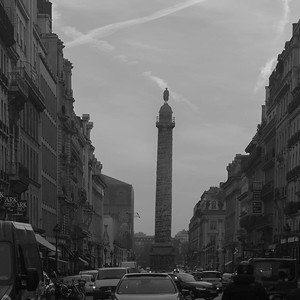Place du Vendome column viewed from Rue du Rivoli, Paris