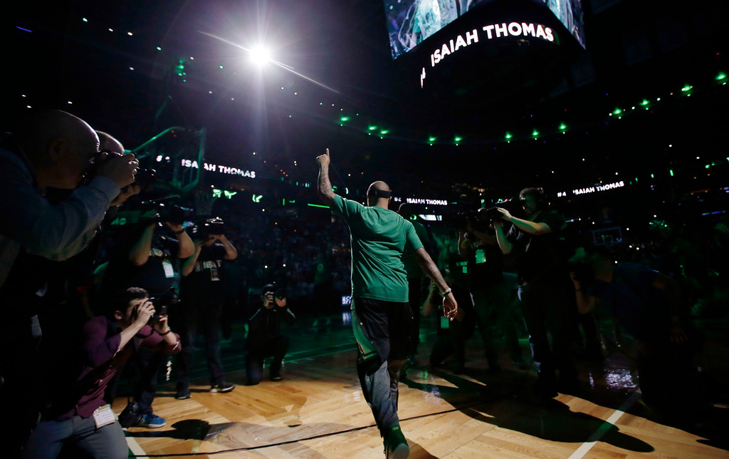 . Boston Celtics guard Isaiah Thomas is introduced before Game 1 of the NBA basketball Eastern Conference finals against the Cleveland Cavaliers, Wednesday, May 17, 2017, in Boston. (AP Photo/Charles Krupa)