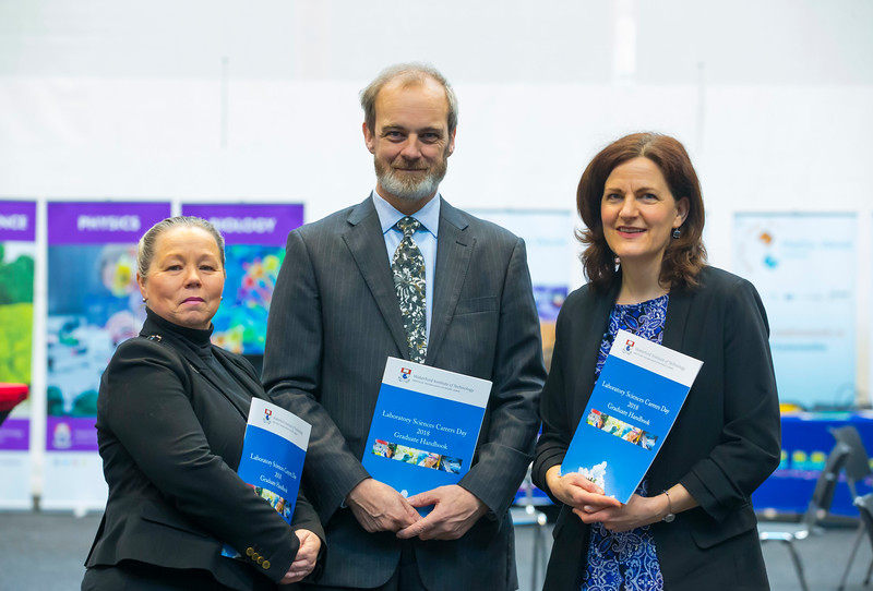07/03/2018. Waterford Institute of Technology Labatory Sciences Careers Day at The Arena. Pictured are Dr. Eleanor Owens, Dr. Jonathan Derham EPA and Dr. Nabla Kennedy. Picture: Patrick Browne