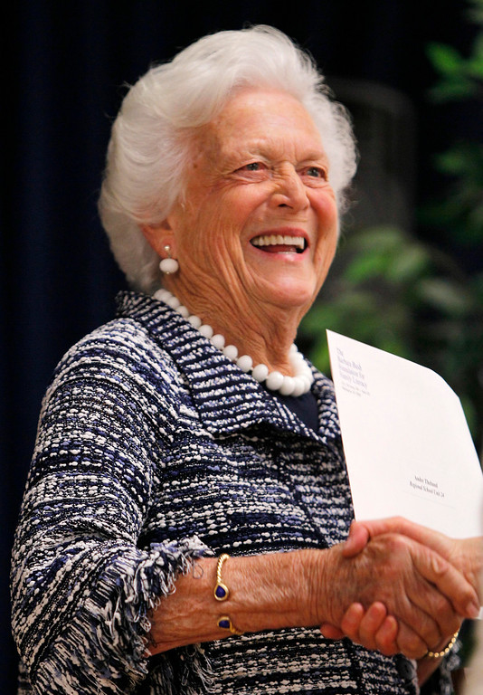 . Former first lady Barbara Bush hands out awards at ceremony for Literacy Maine, Wednesday, June 15, 2011, in Biddeford, Maine. The Barbara Bush Foundation for Family Literacy awarded grants to provide quality family literacy programming. As of June 2011, the Foundation has awarded over $40 million to 902 family literacy programs. (AP Photo/Robert F. Bukaty)