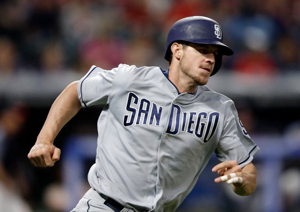 . San Diego Padres\' Wil Myers runs out a double in the seventh inning of a baseball game against the Cleveland Indians, Wednesday, July 5, 2017, in Cleveland. (AP Photo/Tony Dejak)