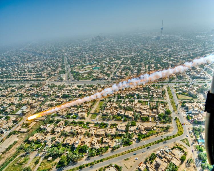 3 JUL 2011 - Blackhawk flight from Union III to Victory Base Complex, Baghdad, Iraq.  Photo by John D. Helms - john.helms@iraq.centcom.mil.
