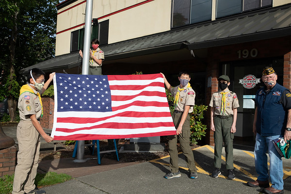Troop 709 Retires the Flags at Issaquah Fire Houses