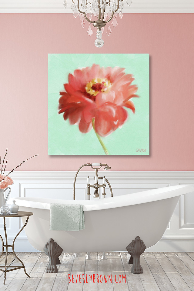 Coral and mint bathroom with large zinnia floral wall art by Beverly Brown.