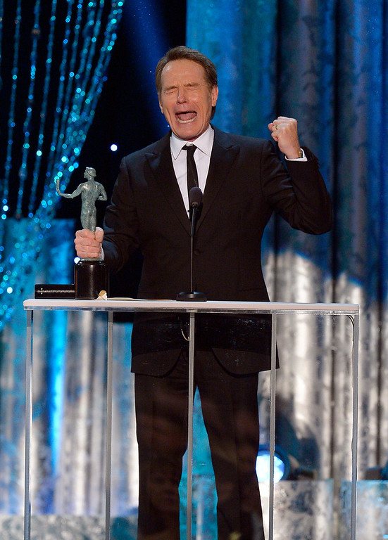 . Bryan Cranston, �Breaking Bad� accepts  Outstanding Performance by a Male Actor in a Drama Series during the show of the 20th Annual Screen Actors Guild Awards  at the Shrine Auditorium in Los Angeles, California on Saturday January 18, 2014 (Photo by Andy Holzman / Los Angeles Daily News)