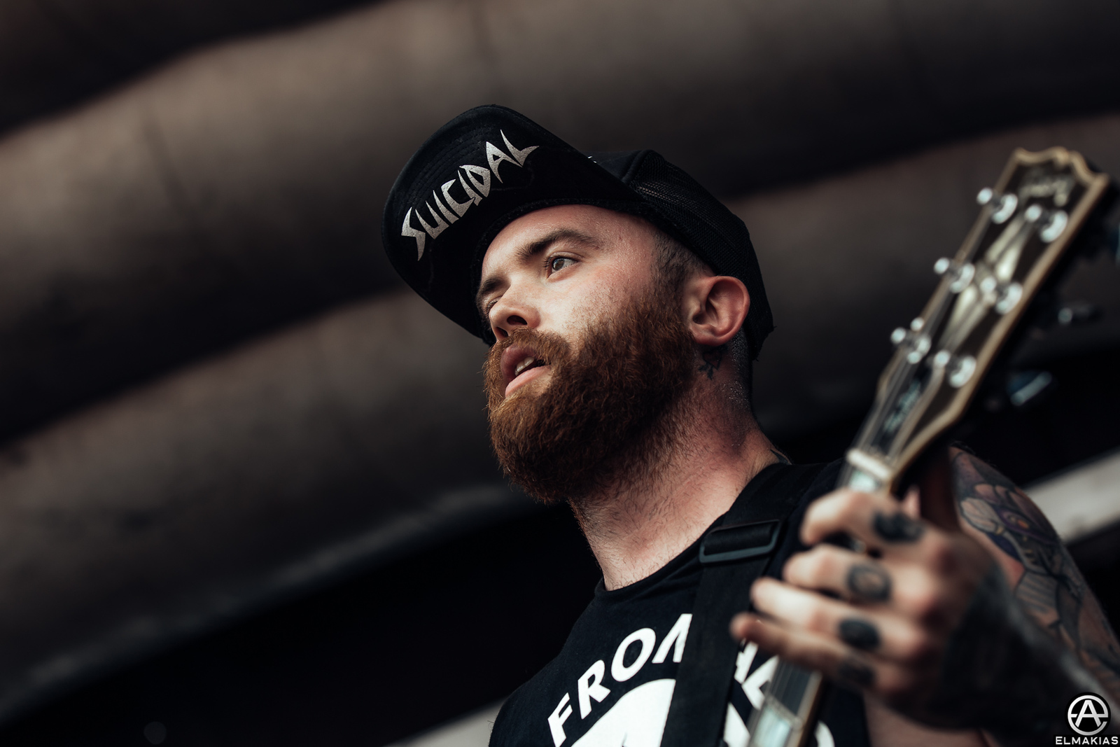Taylor Lumley of Beartooth live at Vans Warped Tour 2015 by Adam Elmakias