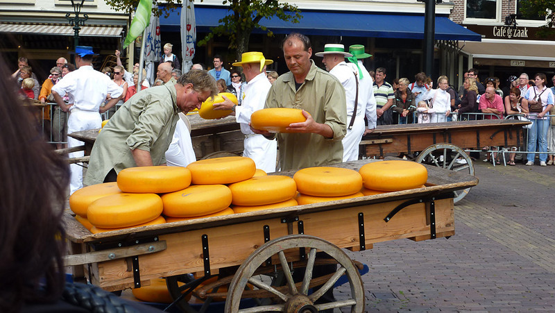Alkmaar. The crown jacketed men are the cheese loaders.