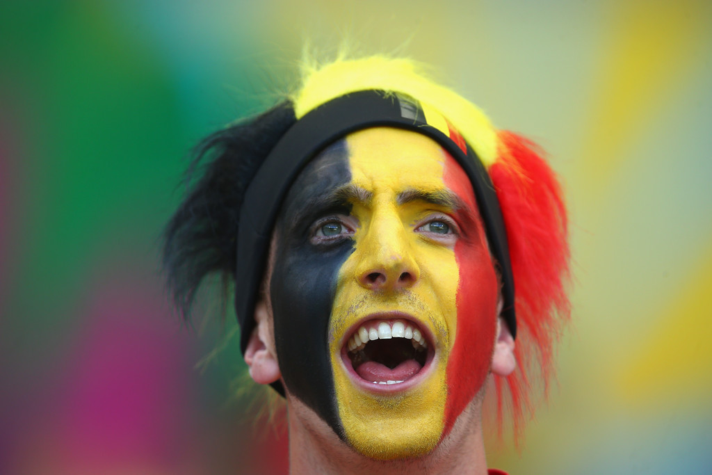 . A Belgium fan cheers prior to the 2014 FIFA World Cup Brazil Group H match between Belgium and Algeria at Estadio Mineirao on June 17, 2014 in Belo Horizonte, Brazil.  (Photo by Jeff Gross/Getty Images)