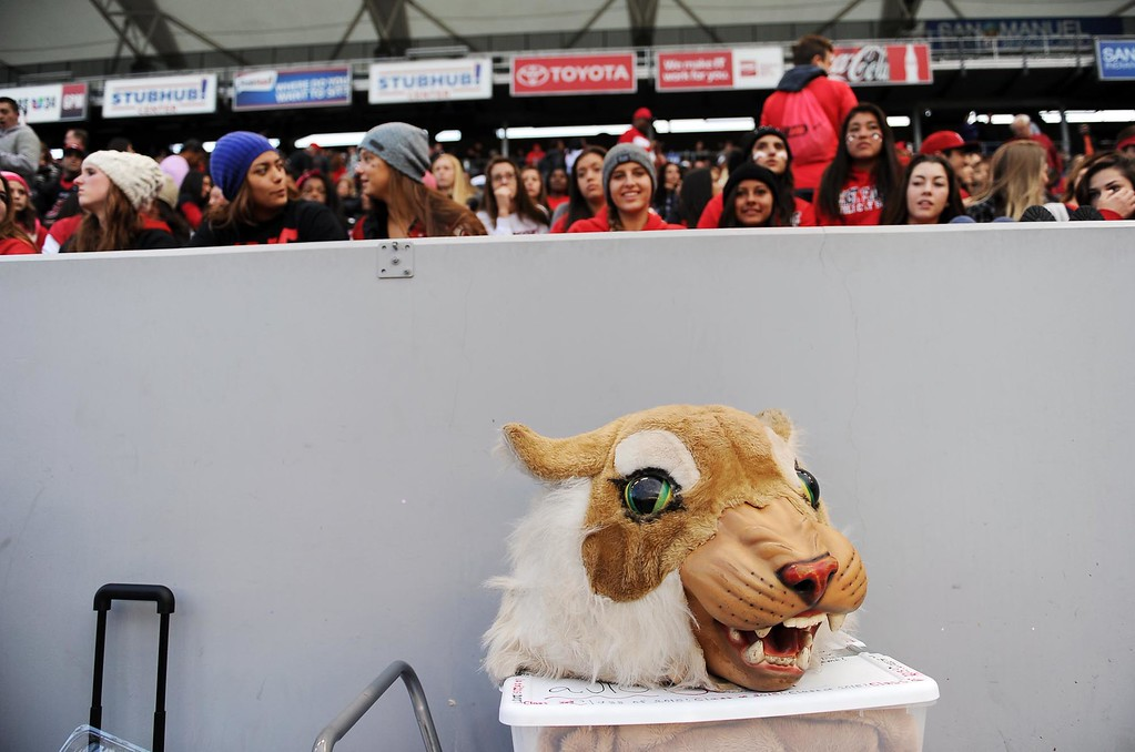 . The head of the Wildcat mascot rests as fans gather in the prior to the start of the Redlands East Valley High School vs Clayton Valley Charter CIF-State Division II championship game on Saturday, December 20, 2014 at StubHub Center in Carson, Ca. (Photo by Micah Escamilla/Redlands Daily Facts)
