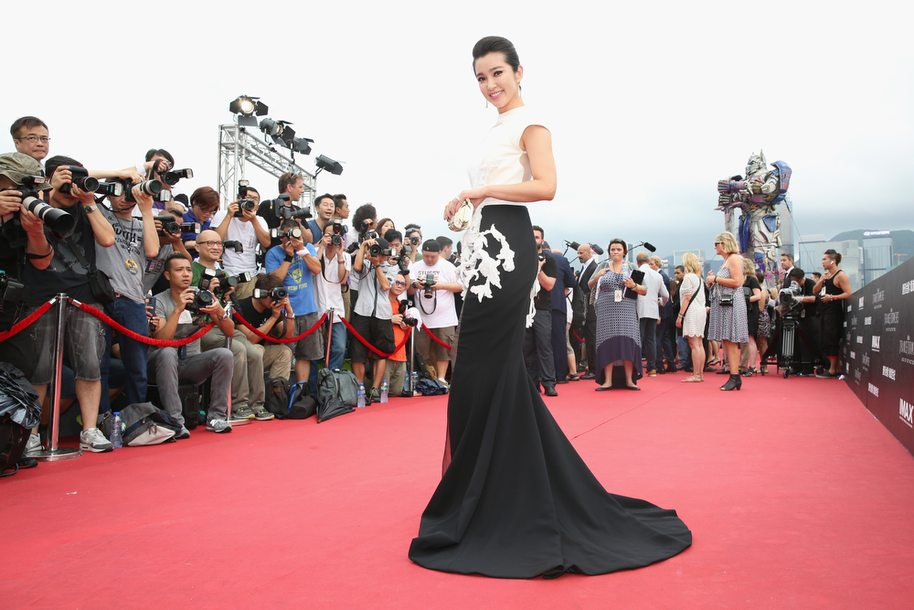 ". Li Bingbing arrives at the worldwide premiere screening of ""Transformers: Age of Extinction\""at the  on June 19, 2014 in Hong Kong, Hong Kong.  (Photo by Callaghan Walsh/Getty Images for Paramount)"