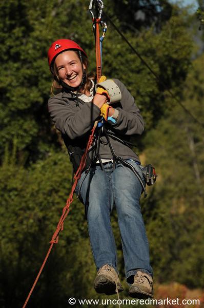 Audrey Comes Down the Zipline at La Montana Winery in Maipo Alto, Chile
