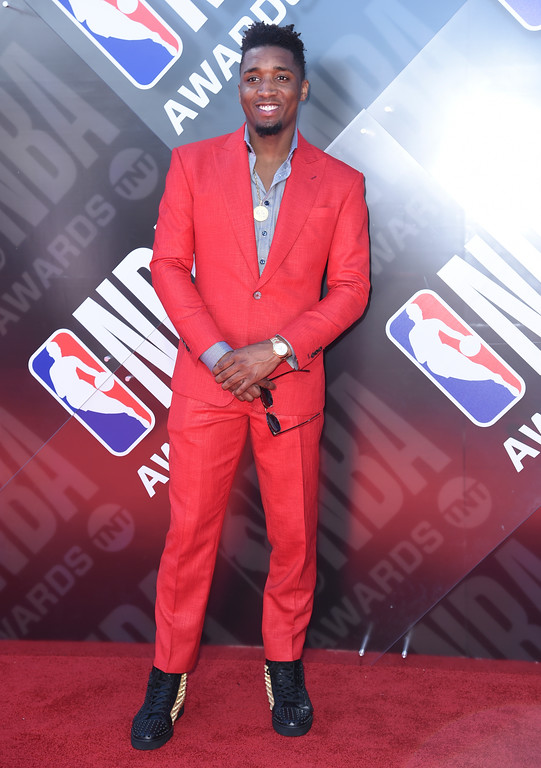 . NBA player Donovan Mitchell, of the Utah Jazz, arrives at the NBA Awards on Monday, June 25, 2018, at the Barker Hangar in Santa Monica, Calif. (Photo by Richard Shotwell/Invision/AP)