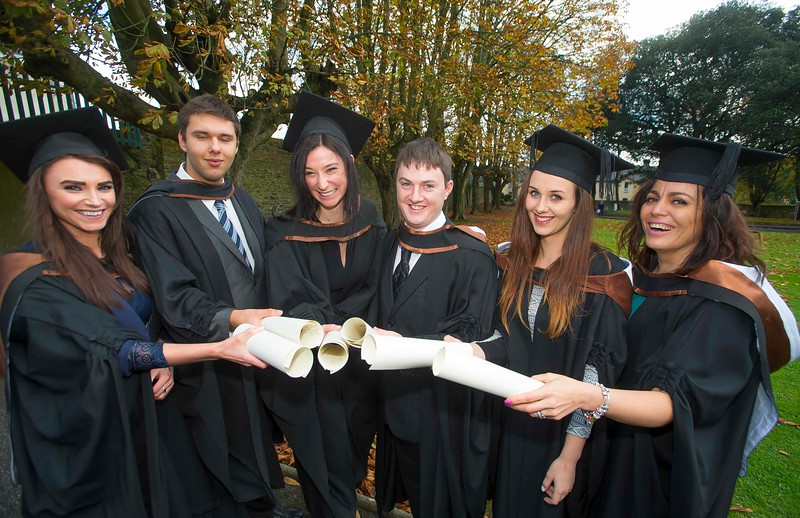 28/10/2015. Waterford Institute of Technology Conferring are Margaret Foskin, Mullinavat, Juozas Strikaitis, Wexford, Anna Olesky, Waterford, Garry Murphy, Wexford, Kamila Morawska, Wexford and Natalie  Papirova from Dungarvan who graduated Higher Cert in Arts in Legal Studies. Picture: Patrick Browne