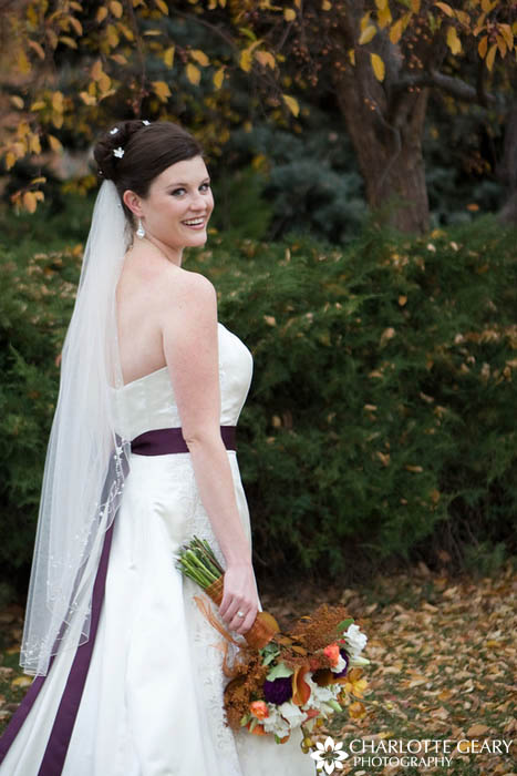 Bride with purple dress