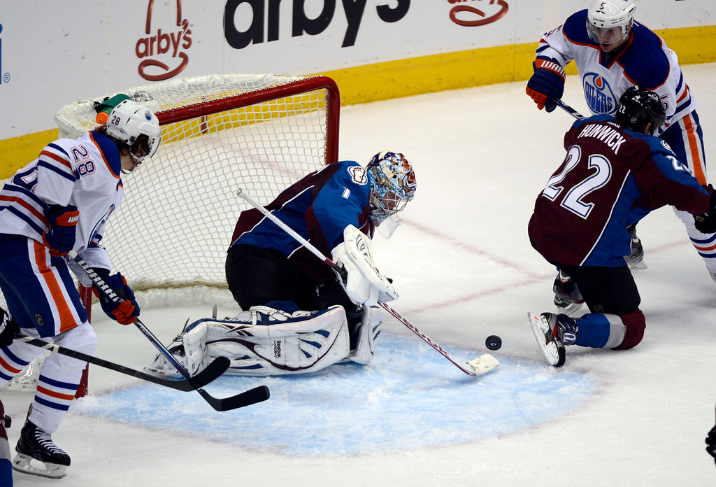 . Semyon Varlamov (1) of the Colorado Avalanche makes a save in front of his goal against the Edmonton Oilers during the second period March 12, 2013 at Pepsi Center. (Photo By John Leyba/The Denver Post)