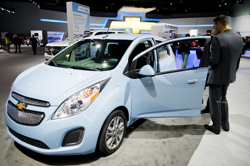. The 2014 Chevy Spark EV at Los Angeles Auto Show on Wednesday, Nov. 20, 2013, in Los Angeles. (Photo by Watchara Phomicinda/San Gabriel Valley Tribune)