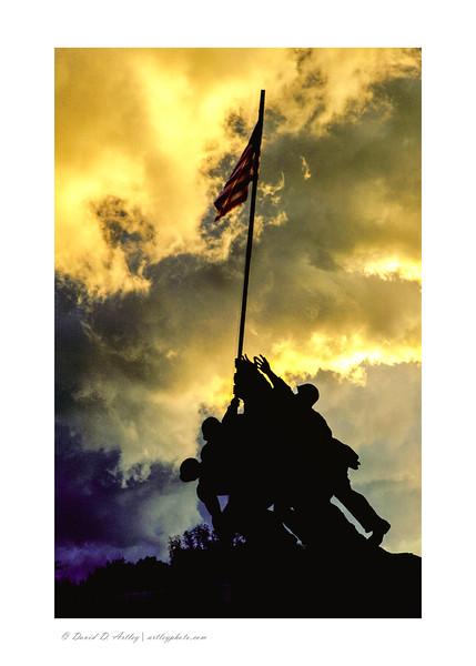 Storm Clouds over US Marine Corps War Memorial, Arlington, VA