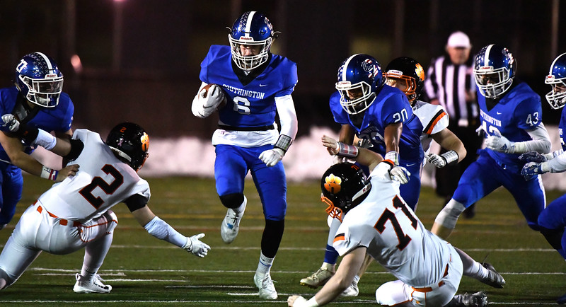 12/4/2019 Mike Orazzi | Staff Southington's Jack McManus (6) during the Class LL football playoff with Ridgefield at Southington High School on Wednesday night.