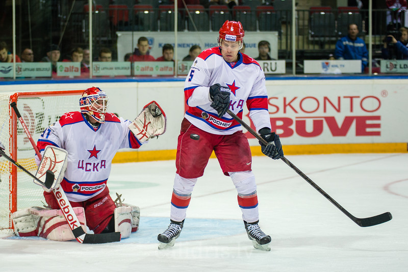 Janis Sprukts (5) of CSKA Moscow plays in front of the goal