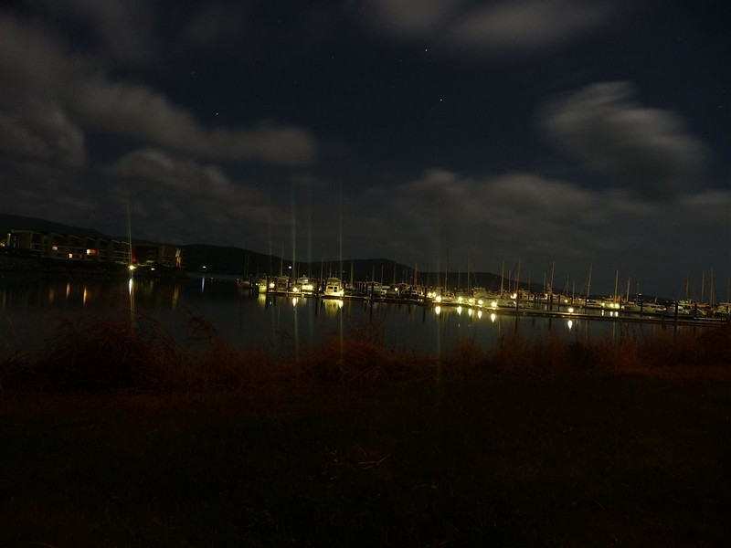 Shingley Beach Harbour at night.