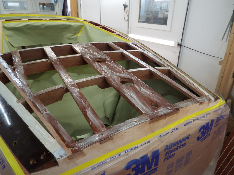 Another view of the rear deck battens with straight epoxy and thickened epoxy applied.