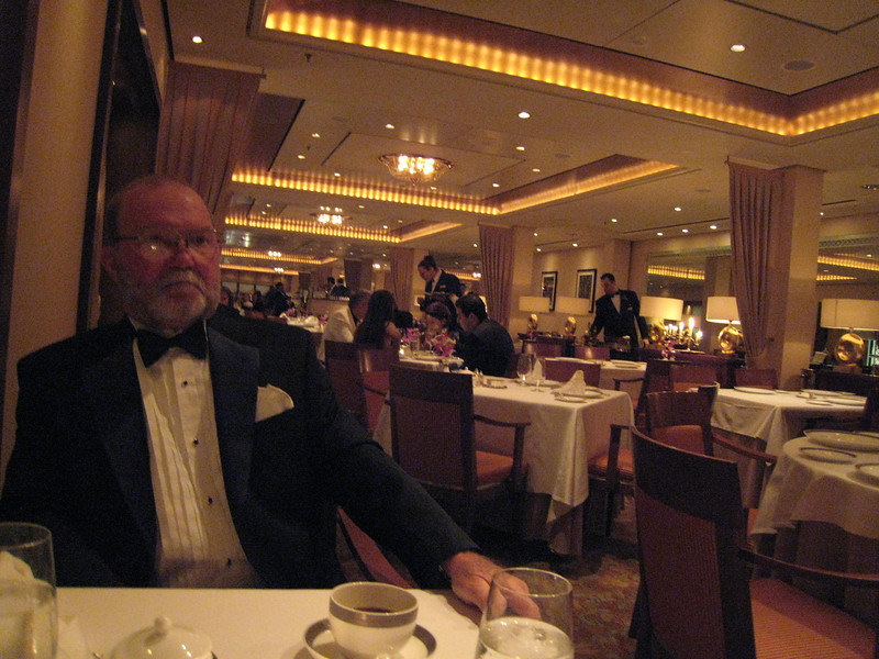 David all decked out in his tuxedo. This was our restaurant - the Queen's Gril.