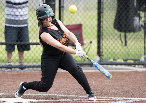 05/17/18 Wesley Bunnell | Staff New Britain softball defeated Wethersfield on Thursday afternoon at Chesley Park. Amanda Jacobs (5).