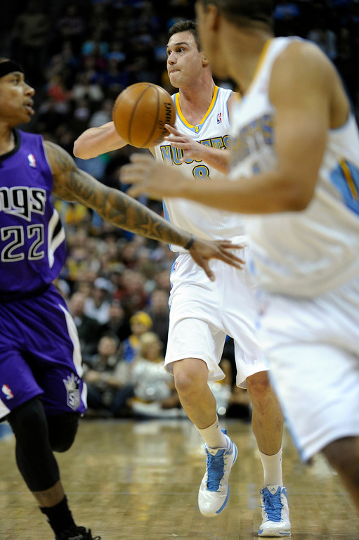 . DENVER, CO. - MARCH 22: Danilo Gallinari (8) of the Denver Nuggets brought the ball up the court in the first half. The Denver Nuggets hosted the Sacramento Kings Saturday night, March 23, 2013 at the Pepsi Center. (Photo By Karl Gehring/The Denver Post)