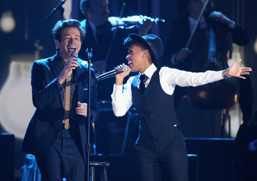 Description of . Nate Ruess of Fun. and Janelle Monae perform onstage at The GRAMMY Nominations Concert Live!! held at Bridgestone Arena on December 5, 2012 in Nashville, Tennessee.  (Photo by Kevin Winter/Getty Images)