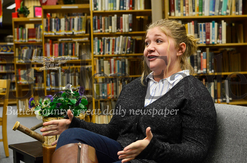 Sam Thoma, 16, of Butler explains why her character in this year's mock trial competitions would answer questions a certain way. Thoma is a junior on Butler Senior High School's mock trial team, which recently won the county-wide tournament.