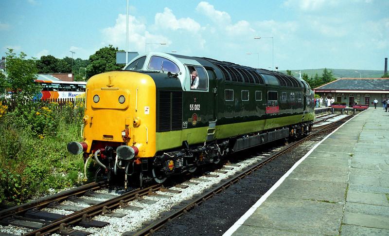 55002 running round at Rawtenstall to work the 1500 to Bury. 09.07.97