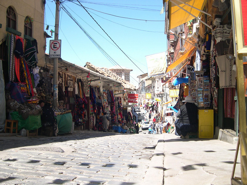 Typical street with shops.