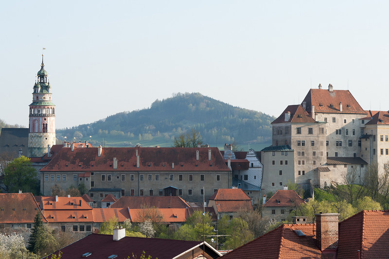 Rooftops and Castle Tower over Cesky Krumlov skyline - Czech Republic