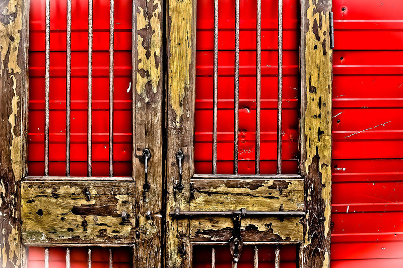 "' Worn Gates on Red ' Atlanta, GA  12""x16"", on Fine Art Paper  or Luster Photo paper (12 mil)"