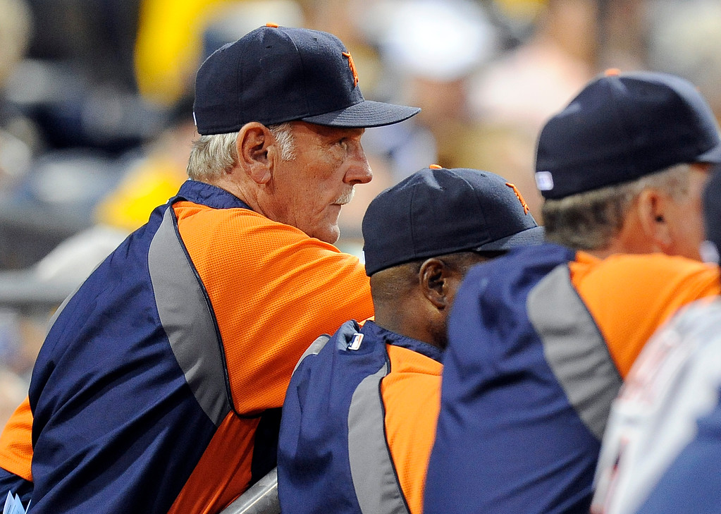 . Detroit Tigers manager Jim Leyland watches the baseball game against the Pittsburgh Pirates during the seventh inning on Friday, June 22, 2012, in Pittsburgh. Pittsburgh won 4-1. (AP Photo/Don Wright)