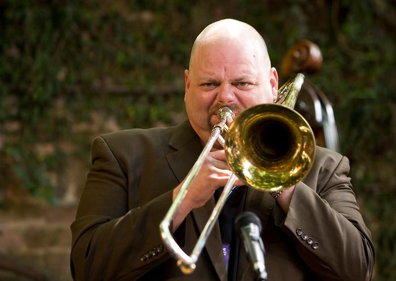 Trombonist John Allred plays at the 2011 Sacramento Jazz Festival in Old Sacramento.