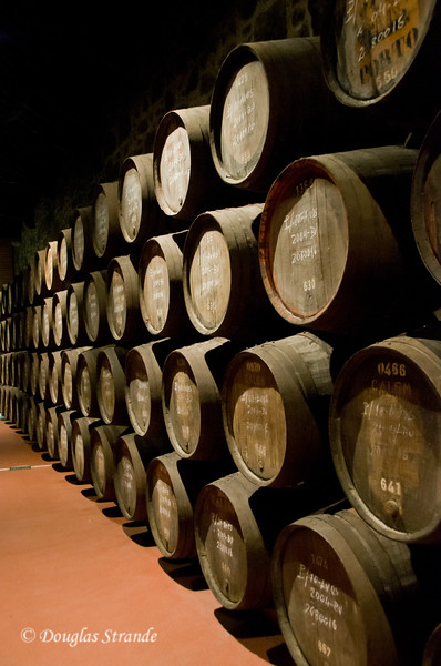 Sat 3/19 in Gaia: Wood barrels of Port stacked for aging