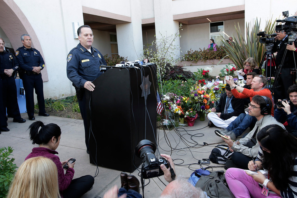 """. Santa Cruz Police Chief, Kevin Vogel, addresses the media at a press conference for slain Santa Cruz police officers, detective Sgt. Loran \""""Butch\"""" Baker and detective Elizabeth Butler in front of the police department in Santa Cruz, Calif. on Wednesday, Feb. 27, 2013. The pair were gunned down yesterday while investigating a possible domestic violence or sexual assault when a suspect fired at them. The gunman, Jeremy Peter Goulet, was later gunned down when he exchanged gunfire with police during a manhunt. (Gary Reyes/ Staff)"""