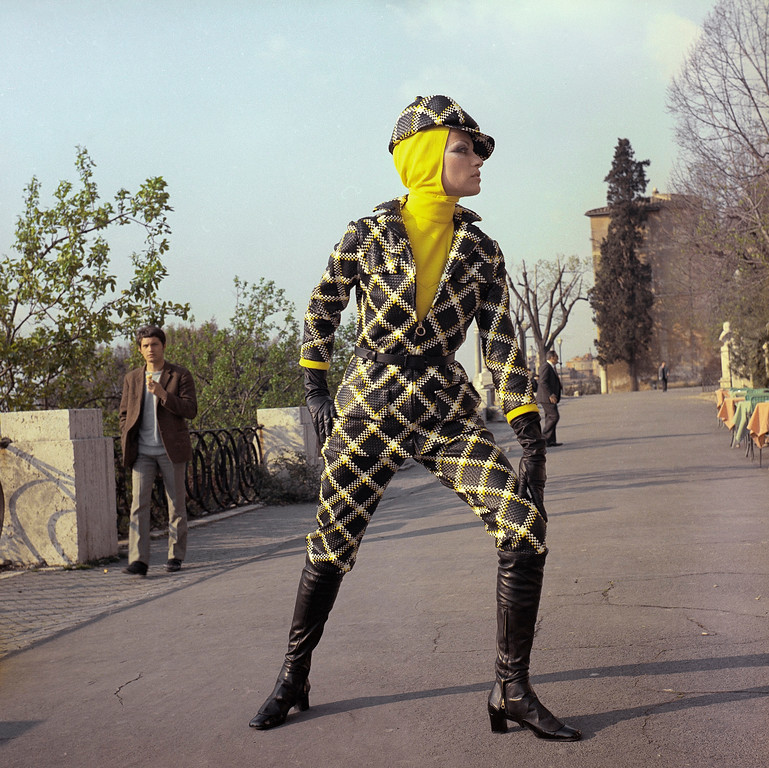 . An ensemble of plaited leather in black, yellow, & white checkers, with a turtle neck by Heinz Riva, April 18, 1969. (AP Photo/Mario Torrisi)