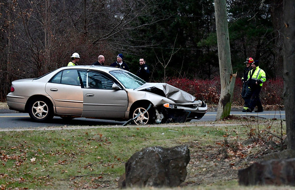 12/14/2018 MIke Orazzi | Staff The scene of a one-car crash on Flanders Road across from Southington High School Friday afternoon.
