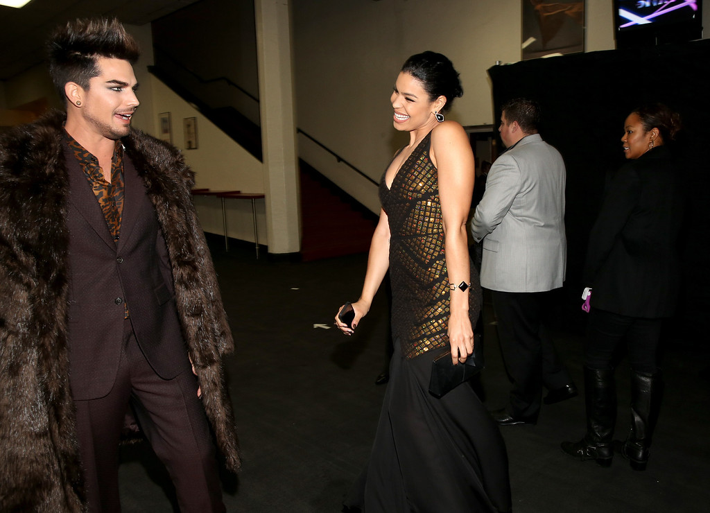 ". LOS ANGELES, CA - DECEMBER 16:  (L-R) Host Adam Lambert and singer Jordin Sparks attend ""VH1 Divas\"" 2012 at The Shrine Auditorium on December 16, 2012 in Los Angeles, California.  (Photo by Christopher Polk/Getty Images)"