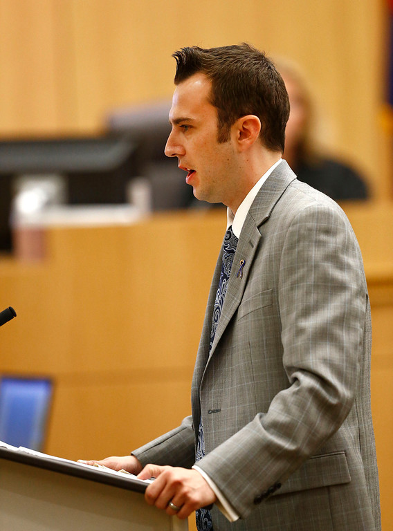 ". Steven Alexander, brother of murder victim Travis Alexander, makes his ""victim impact statement\"" to the jury on Thursday, May 16, 2013, during the penalty phase of the Jodi Arias trial at Maricopa County Superior Court in Phoenix.  Jodi Arias was convicted of first-degree murder in the stabbing and shooting to death of Travis Alexander, 30, in his suburban Phoenix home in June 2008. (AP Photo/The Arizona Republic, Rob Schumacher, Pool)"