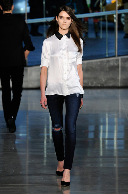 . A model walks the runway at the DL 1961 Premium Denim Fall 2013 fashion show during Mercedes-Benz Fashion Week at Alice Tully Hall on February 11, 2013 in New York City.  (Photo by Fernanda Calfat/Getty Images for Mercedes-Benz Fashion Week)
