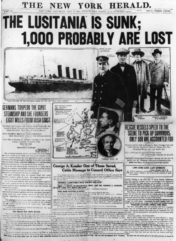 . May 8th 1915:  Front page of the New York Herald newspaper carrying the news of the sinking of the British liner the \'Lusitania\' by a German submarine on the 7th May 1915.  (Photo by Hulton Archive/Getty Images)