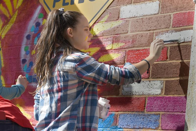 Mural painting at the Ada Jenkins Center. (Bill Giduz photo)