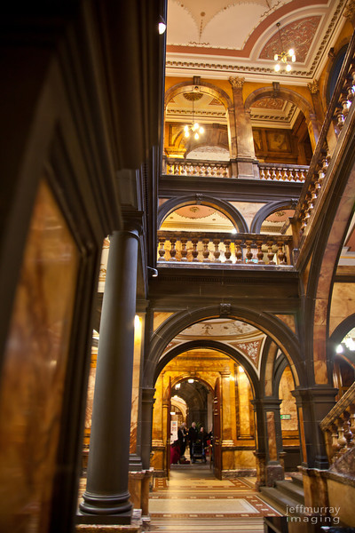Another of the inside of the City Chambers.  On this, the southern side the marble is a rich golden colour and the contrasts a deep chocolate.